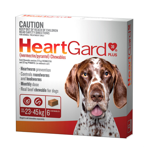 Heartgard 30 Plus Chews for Large Dogs 23-45kg Brown (6s)