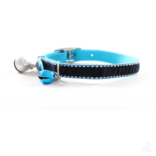 Diva Royal Blue Velvet Bling Quick Release Cat Collar