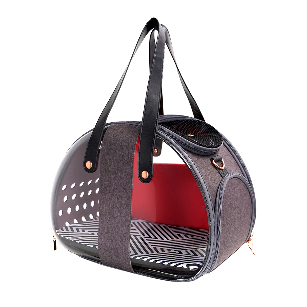Ibiyaya Bubble Hotel Semi-transparent Pet Carrier for Cats and Dogs up to 6kg - Red image 0