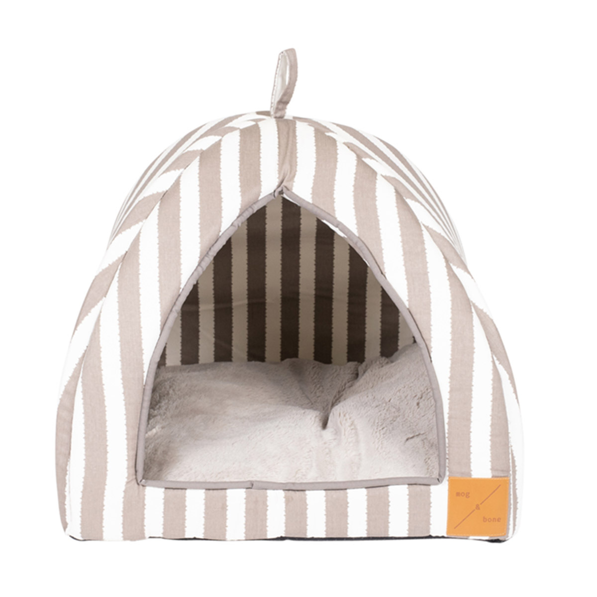 Mog & Bone Cat Igloo Bed with Fleecy Cushion - Latte Hamptons Stripe image 0