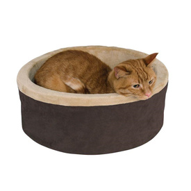 K&H Thermo Kitty Cuddle Up Heated Pet Bed for Cats & Small Dogs in Polarfleece Mocha image 0