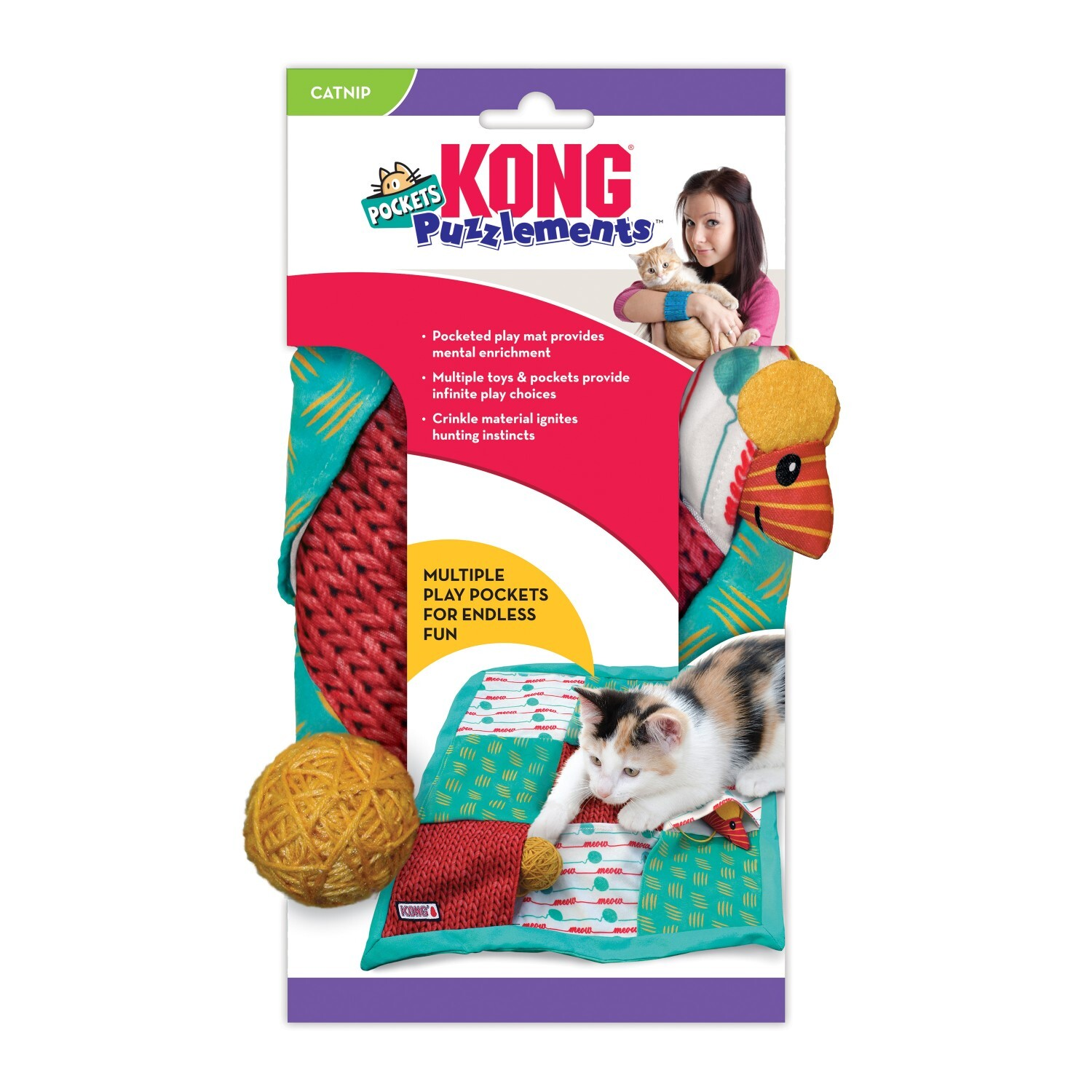 KONG Puzzlements Pockets Interactive Treat Hiding Cat Play Mat image 1