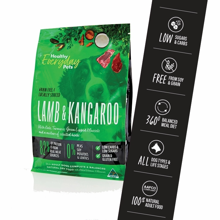 Healthy Everyday Pets by Pete Evans Grain Free Dry Dog Food - Kangaroo & Lamb 12kg image 1