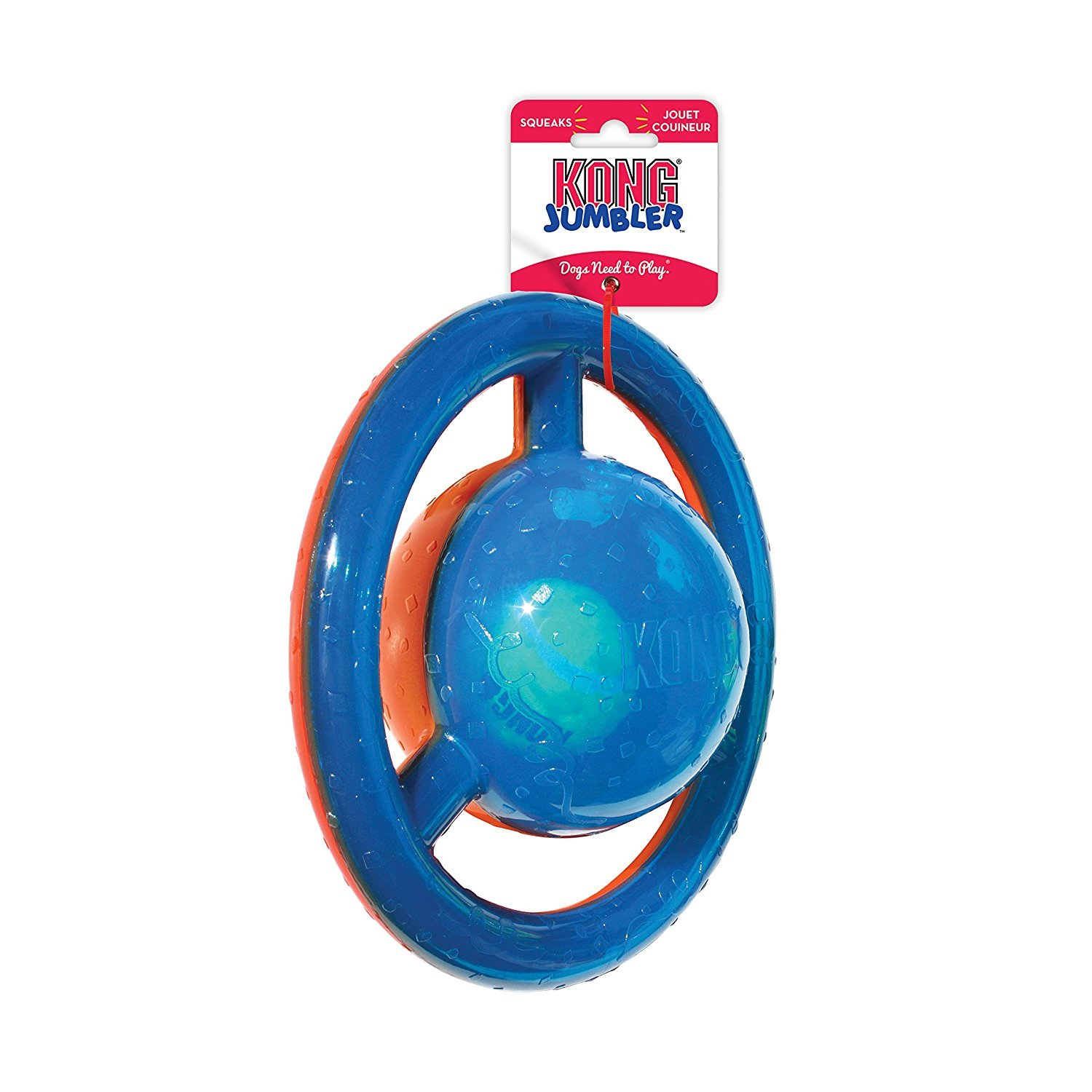 KONG Jumbler Disc 2-in-1 Squeak and Tug Dog Toy image 1