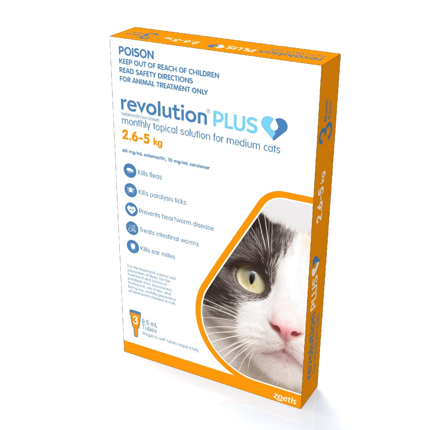 Revolution PLUS Flea, Worm & Tick Topical Prevention for Kittens &  Adult Cats 3-Pack image 1