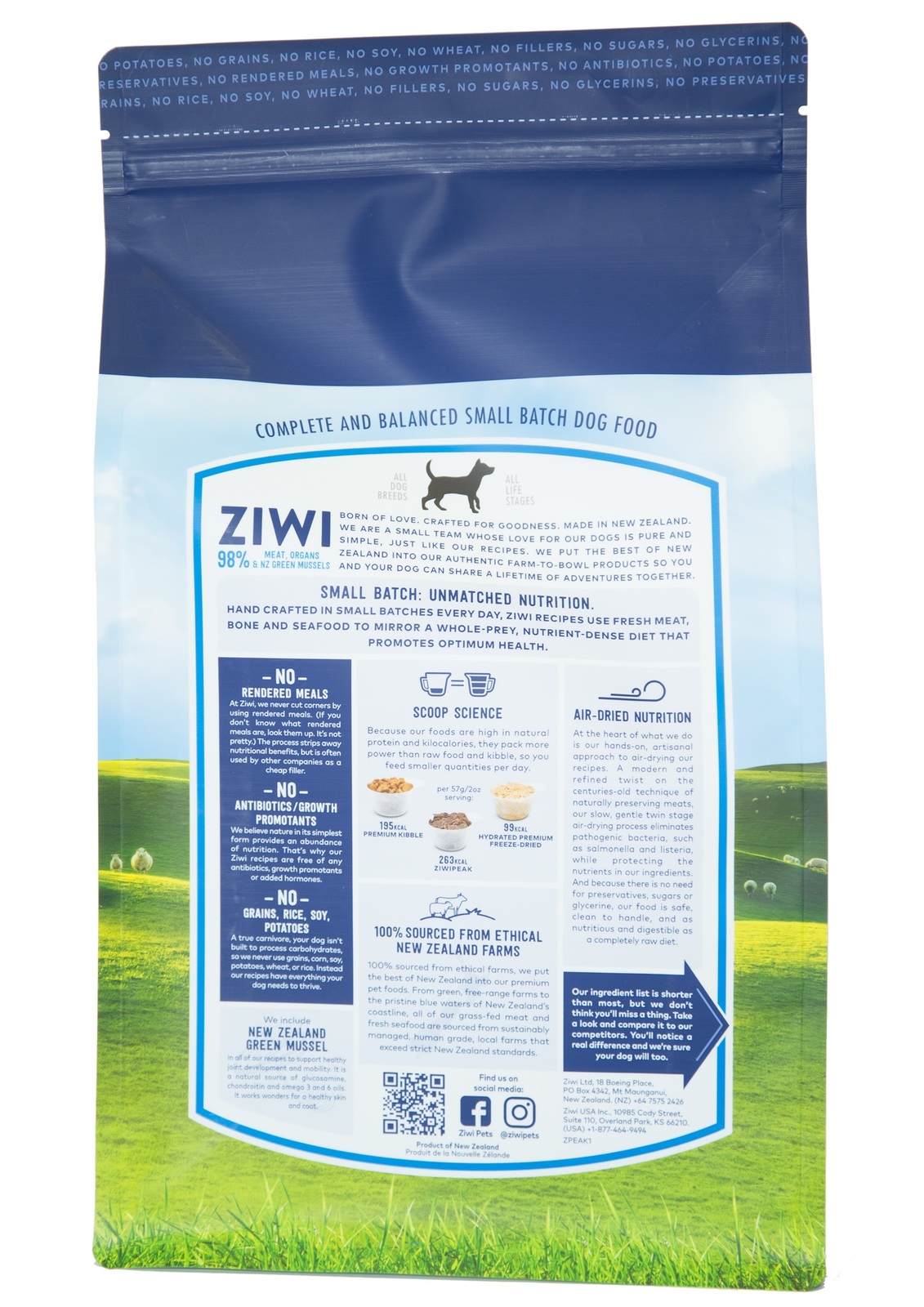 Ziwi Peak Air Dried Dog Food 2.5kg Pouch - Free Range Lamb image 1