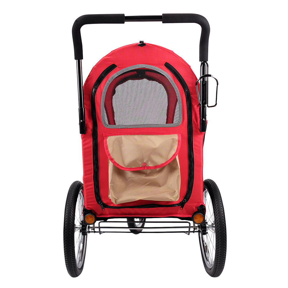 IBIYAYA 3-Wheeled Collapsible Pet Dog Bicycle Trailer Stroller Pram Carrier - Red image 2