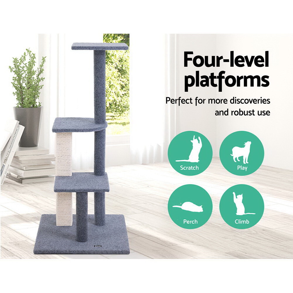 Cat Tree 124cm Trees Scratching Post Scratcher Tower Condo House Furniture Wood Steps image 2