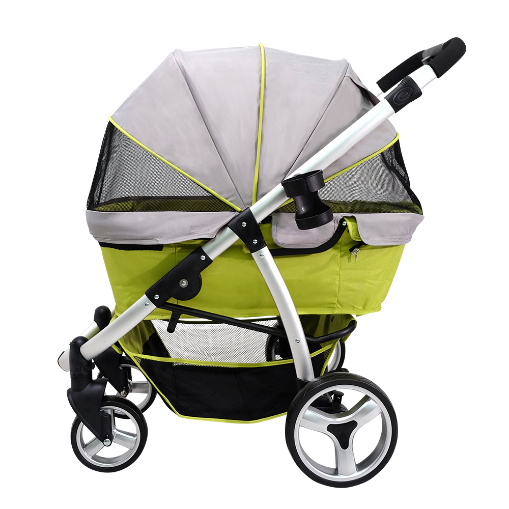 Ibiyaya Collapsible Elegant Retro I Pet Stroller for Cats & Dogs up to 35kg - Green image 3