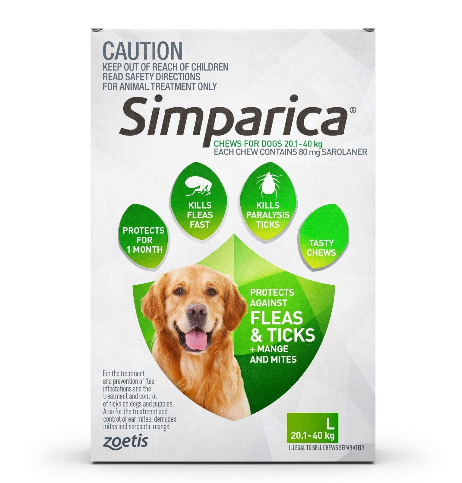 Simparica Flea Amp Tick Tablets Green For Dogs 20 1 40kgs