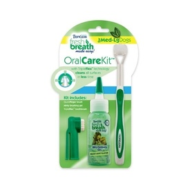 Tropiclean Fresh Breath Oral Care Kit with Toothbrush for Medium/Large Dogs