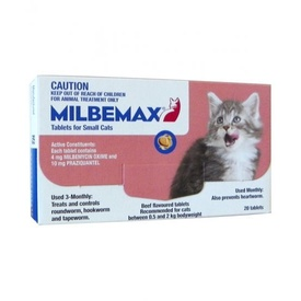 Milbemax All Wormer Beef-Flavoured Tablet for Small Cats under 2kg - 20 Pack