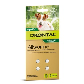 Drontal All-Wormer for Small Dogs & Puppies to 3kg - 4 Tablets