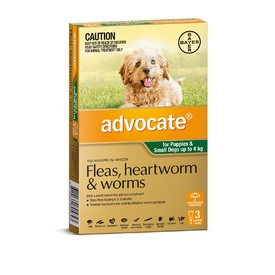 Advocate Flea & Worm Control for Dogs up to 4kg - 3 pack