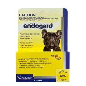 Endogard Broad Spectrum All Wormer for Medium Dogs up to 10kg - 4-Pack