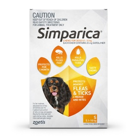 Simparica for Small Dogs [Size: 5.1-10kgs] [Pack Size: 3 Pack] + BONUS Single