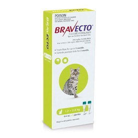 Bravecto Topical Spot-On - 3 month Flea & Tick Protection - For Cats 1.2-2.8kg
