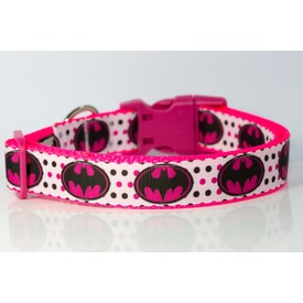 """Batman / Batgirl Logo"" Spotty Pink & White Dog Collar by Dizzy Collars Australia"