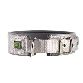 HUNTER Nylon Dog Collar Neopren Reflect - Grey & Grey