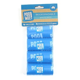 Poowee Biodegradable Dog & Cat Waste Pick Up Bags - 4 rolls/60 bags