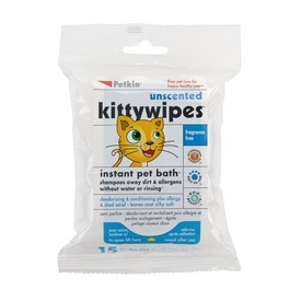 Petkin Unscented Instant Bath Kitty Wipes - 15 pack