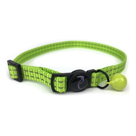 Cattitude Classic Reflective Cat Collar with Breakaway Safety Clip & Bell - Lime