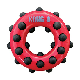 KONG Dotz Circle - Textured Donut Shaped Rubber Squeaker Dog Toy