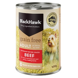 Black Hawk Grain Free Beef Moist Dog Food 12 x 400g Cans