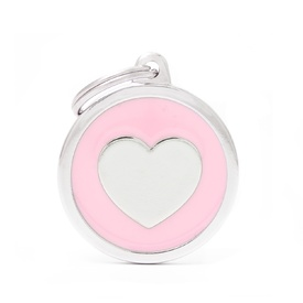 My Family Pet ID Tag Classic Heart Pink ~ Includes FREE Engraving