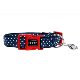 Doog Neoprene Antibacterial Dog Collar with Clip - Stella - Navy with White Spots
