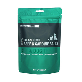 Freeze Dry Australia Natural Raw Beef & Sardine Treat Balls for Cat & Dogs - 100g