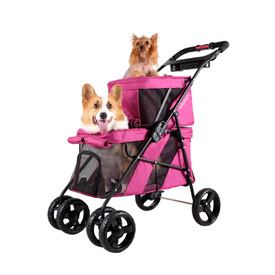 Ibiyaya Double Decker Pet Stroller for Multiple Pets - Red Violet