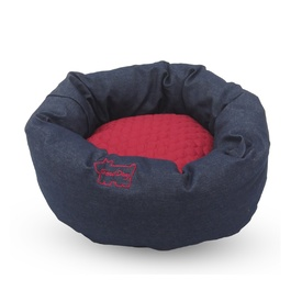 "Snooza ""Good Dog"" Bed - Round in Denim & Burgundy - Small"
