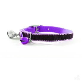 Diva Purple Velvet Bling Quick Release Cat Collar