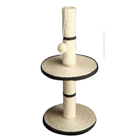 Carpet & Sisal Double Level Cat Scratching Tree Post with Playtime Ball