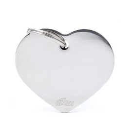 My Family Pet ID Tag Classic Heart Chrome Large ~ Includes FREE Engraving