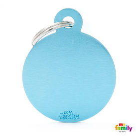 My Family Pet ID Tag Classic Circle Light Blue Large ~ Includes FREE Engraving