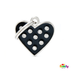 My Family Pet ID Black Heart with Swarovski Elements ~ Includes FREE Engraving