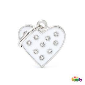 My Family Pet ID White Heart with Swarovski Elements ~ Includes FREE Engraving