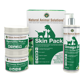 Natural Animal Solutions Skin Pack for Cats & Dogs - Omega Oil, Vitamin C & Digestivite