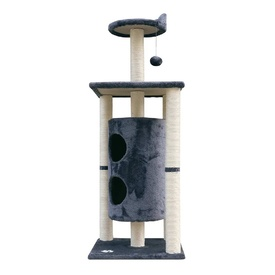 Carpet & Natural Sisal Cat Scratch Cubby Tree 123cm Grey