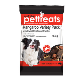 Kangaroo Variety Pack with Sweet Potato & Parsley - Australian Dogs Treats 150g
