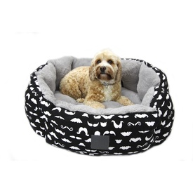 T&S Quirky Mustache Reversible Pet Bed