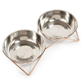 Bendo Luxe Woof Woof Double Raised Stainless Steel Dog Bowls with Copper Stand
