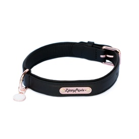 Zippy Paws Leather Dog Collar with Rose Gold Buckle - Black