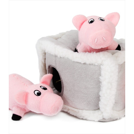 Zippy Paws Interactive Burrow Dog Toy - Pig Pen with 3 Squeaky Pigs