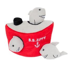 Zippy Paws Interactive Burrow Dog Toy - 3 Squeaker Sharks in a Ship