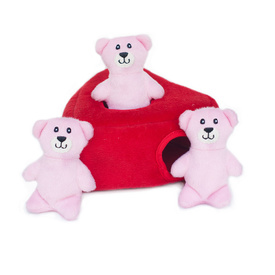 Zippy Paws Burrow Interactive Dog Toy - Heart 'n Bears with 3 Squeaky Bears