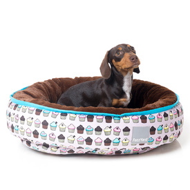 Fuzzyard Plush Round Reversible Dog Bed - Cupcakes