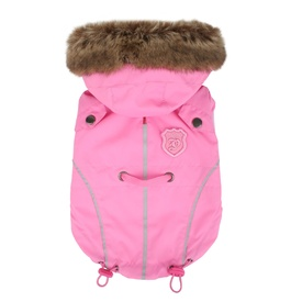 Puppia Fargo Lightweight Dog Jacket with Faux Fur Hood - Pink